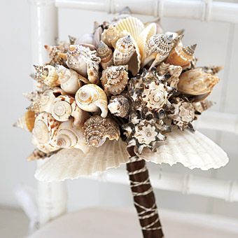 A wedding bouquet made out of shells for a bride who wants to be different